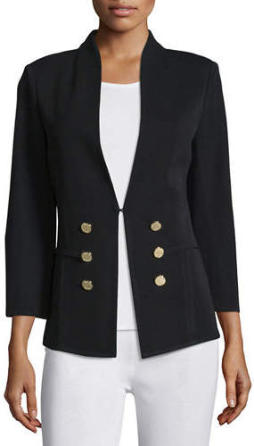 Misook 3/4-Sleeve Button-Front Jacket