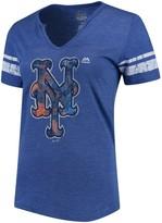 Majestic Women's Royal/White New York Mets Slugging Percentage V-Notch T-Shirt