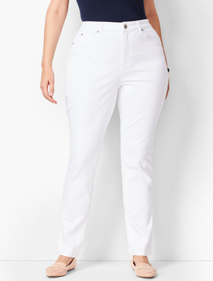 Talbots Plus Size High-Waist Straight-Leg Jeans - Curvy Fit - White