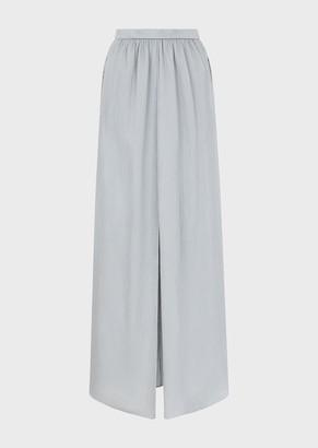 Giorgio Armani Long Crepon Satin Skirt With Slit