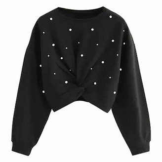 LOPILY Ladies Front Twist Sweatshirt Pearl Embellishment Crew Neck Long Sleeve Pullover Tops Women's Solid Color Jumpers Top Blouse(Black 6 UK/M CN)
