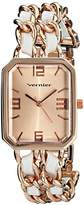 Vernier Women's VNR11180RG Rose Gold-Tone Watch with Faux-Leather and Chain-Link Bracelet