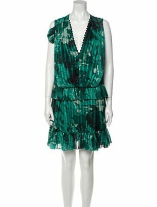 Victoria Beckham Printed Mini Dress Green