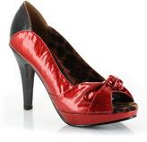 Bettie Page Red Serena Peep-Toe Pump