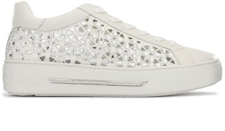 Rene Caovilla Rhinestone-Embellished Cut-Out Sneakers