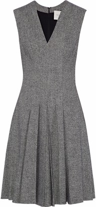 Carolina Herrera Pleated Wool-blend Tweed Dress
