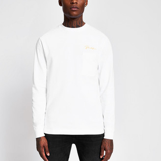 River Island Prolific white long sleeve skater T-shirt