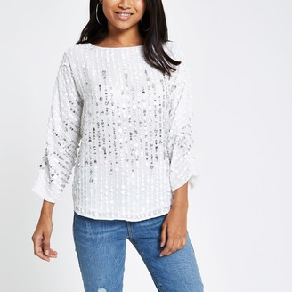 River Island Womens Petite White sequin embellished top