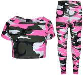 A2Z 4 Kids® Girls Tops Kids Camouflage Print Trendy Crop Top & Legging Set Age 7-13 Years