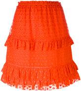 Tory Burch embroidered Madison skirt - women - Silk/Polyester/Viscose - XS