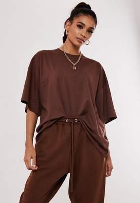 Missguided Burgundy Drop Shoulder Oversized T Shirt
