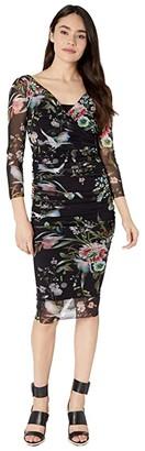 Fuzzi 3/4 Wrap Dress (Black) Women's Dress