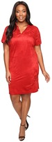 London Times Plus Size Suede Short Sleeve Collared Shift