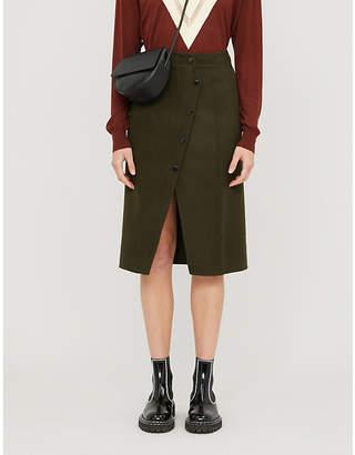 Sandro Peny split-hem wool-blend midi skirt