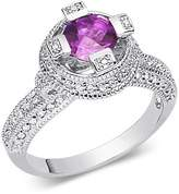 Peora Amethyst Ring Sterling Silver Rhodium Nickel Finish Round Shape 1.00 Carats Size 8