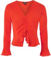 Topshop Long Sleeve Ruched Blouse