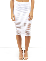 KENDALL + KYLIE Laser Cut Skirt in Bright White