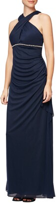 Alex Evenings Halter Neck Ruched Gown