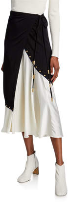 Tory Burch Mixed Material Colorblock Midi Wrap Skirt