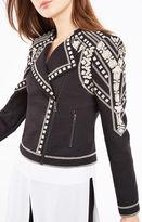 BCBGMAXAZRIA Jaison Geometric Embroidered Moto Jacket