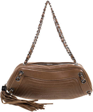 Chanel Brown Leather LAX Chain Shoulder Bag