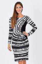 NEW Very Very Womens Knee Length Dresses Dali Drape Front Stripe Dress White