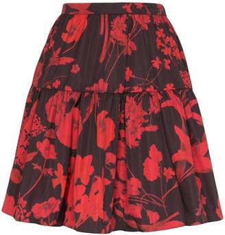 Valentino Tiered Floral Print Mini Skirt