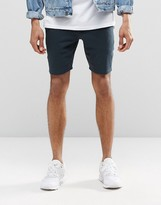 Asos Super Skinny Jersey Shorts In Navy