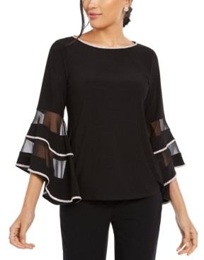 MSK Petite Illusion-Band Bell-Sleeve Top