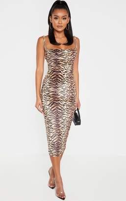 PrettyLittleThing Brown Velvet Strappy Tiger Print Midi Dress