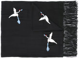 The Kooples embroidered bird scarf - women - Silk/Cotton/Viscose - One Size