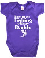 Dirty Fingers, Born to go Fishing with my Daddy, Baby Bodysuit, 6-12m, Ry Blue