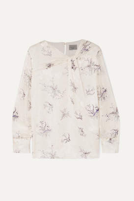 Jason Wu Twist-front Floral-print Fil Coupe Georgette Blouse - White