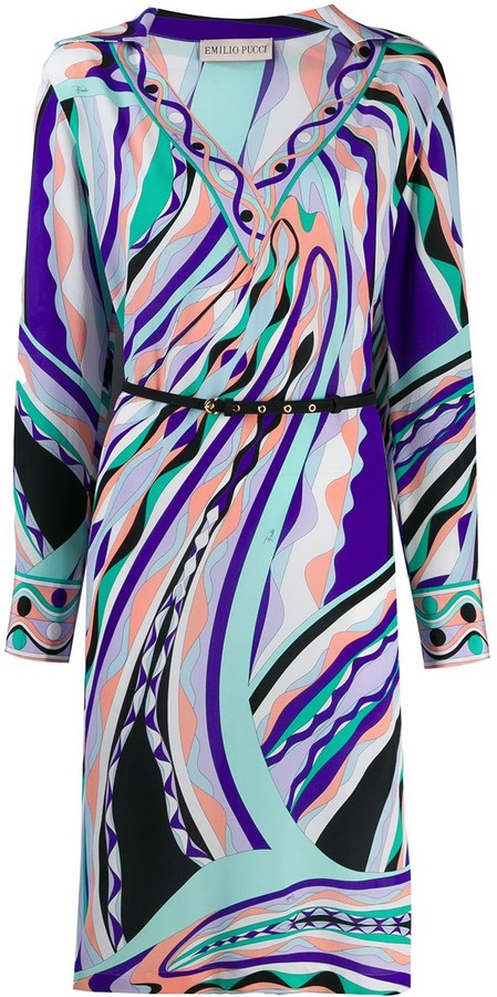 Emilio Pucci Abstract Print Midi Dress