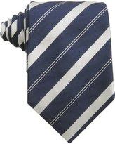 navy silver striped silk grosgrain tie