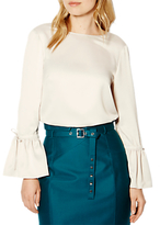 Karen Millen Satin Fluted Sleeve Blouse, Ivory