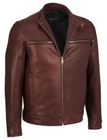 Wilsons Leather Mens Open Bottom Leather Cycle Jacket W/ Snap Tab Collar