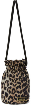 Ganni Beige and Black Recycled Tech Leopard Drawstring Pouch