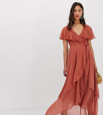 Asos Tall DESIGN Tall maxi dress with cape back and dip hem-Brown