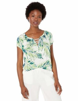 Chaps Women's Petite Short Sleeve Lace up Top