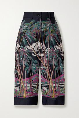 Sacai Sun Surf Diamond Head Cropped Printed Satin Wide-leg Pants