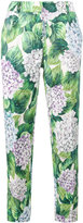 Dolce & Gabbana hydrangea print tapered trousers - women - Silk/Cotton/Viscose - 40
