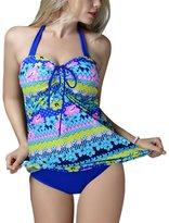 FEOYA Women's Floral Print Two-Piece Swimsuit Plus Size Swimwear with Bottoms XXXXL