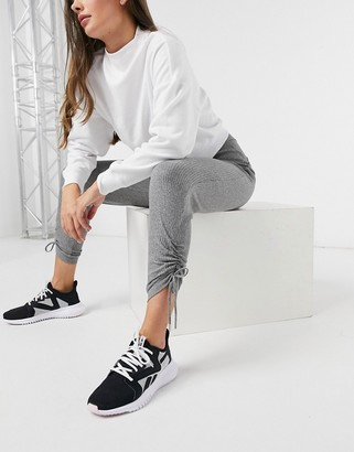 HIIT cropped trackies with drawstring ruching in grey