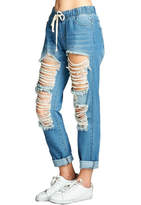 Minx Distressed Denim Joggers