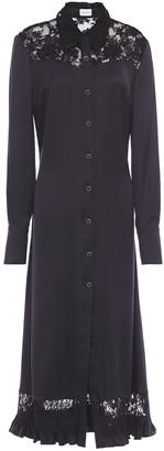 Magda Butrym Sondrio Lace-paneled Silk-satin Shirt Dress