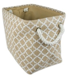 Design Imports Burlap Bin Lattice Rectangle Medium