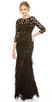 Kay Unger High Neck 3/4 Sleeve Lace and Ruffle Mermaid Gown