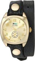 La Mer Women's Quartz Metal and Leather Casual Watch, Color:Black (Model: LMMONACODOUBLE3509)