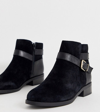 New Look Wide Fit suede buckle detail flat boots in black